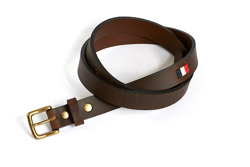 FRANCE smooth leather polo belt dark