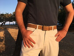 Polo gaucho leather belt from Argentina, raw leather, tanned with salt