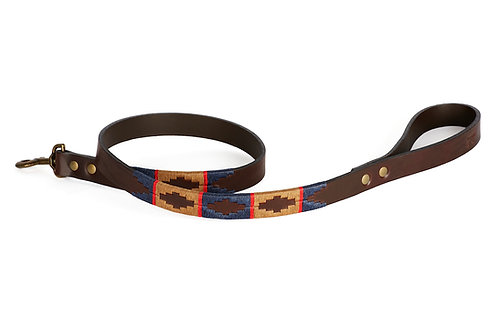 BLUE BEIGE RED, Polo dog lead from Argentina, Brown leather