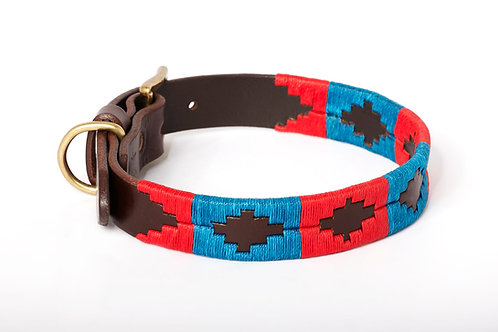 Leather collar BLUE RED