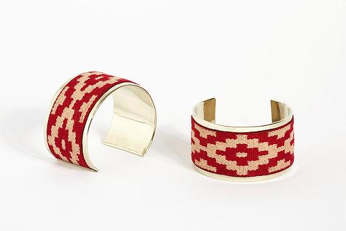 Alpaca and fabric cuff RED