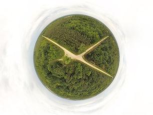 Photo sphere panorama 360° par drone forêt territoire annonce immobilière valorisation Poitiers Vienne