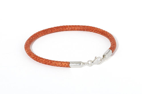 Braided leather & silver bracelet BROWN