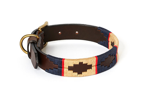 Leather collar BLUE RED BEIGE