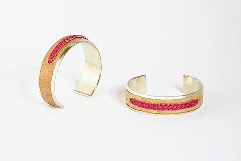 Raw leather and alpaca bracelet PINK