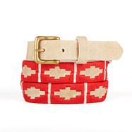 Leather polo gaucho belt from Argentina Red White