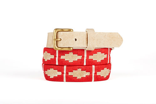 Raw Leather polo belt RED WHITE