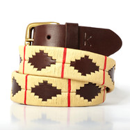 Polo gaucho leather belt from Argentina Beige Red
