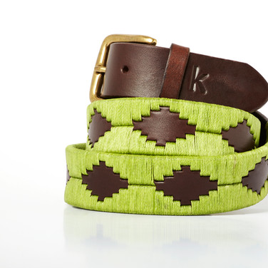Polo gaucho leather belt from Argentina Pistachio