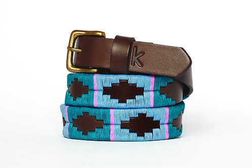 Leather polo belt BLUE-PINK