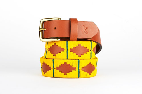 YELLOW GREEN, Argentina Polo Belt, Cognac leather, Unisex