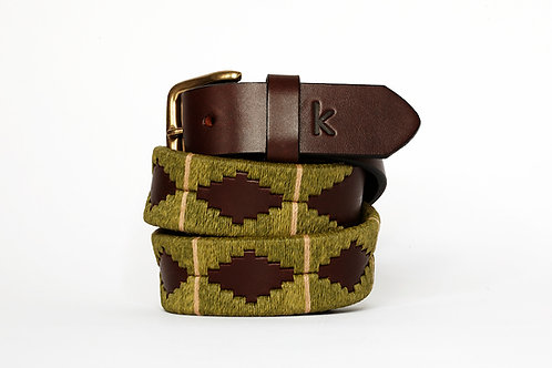 Ceinture polo cuir OLIVE BEIGE