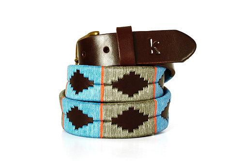Leather polo belt  BLUE ORANGE GREY