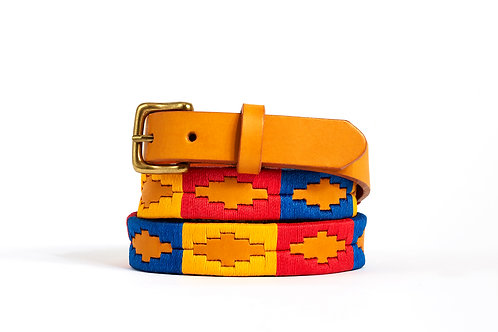 RED BLUE YELLOW, Argentina Polo Belt, Gold leather, Women