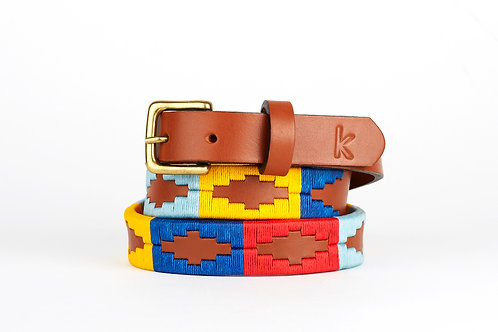 BLUE YELLOW RED, Argentina Polo Belt, Cognac leather, Women