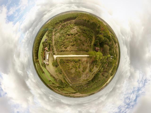 Photo fish eye 360° par drone pour agence immobilière, près de Châteauroux, Indre 36