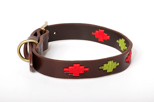 RED PISTACHIO,  Polo dog collar from Argentina, Brown Leather