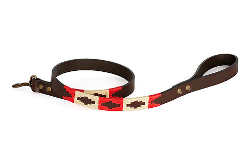 BEIGE RED, Polo dog lead from Argentina, Brown leather