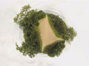 Photo sphere panoramique 360 par drone massif forestier à Poitiers, Vienne 86