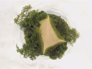 Photo sphere panoramique 360 par drone massif forestier à Poitiers, Vienne 86
