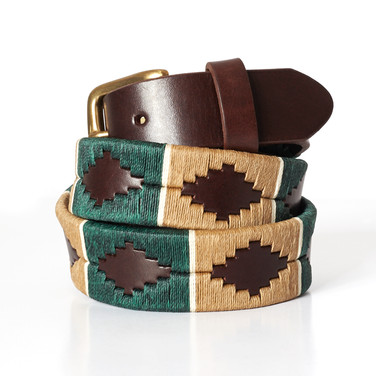 Polo gaucho leather belt from Argentina Green Beige White