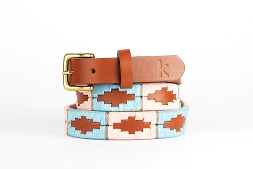 PINK BLUE GREY, Argentina Polo Belt, Cognac leather, Women