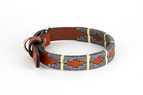 GREY BEIGE, Polo dog collar from Argentina, Cognac leather