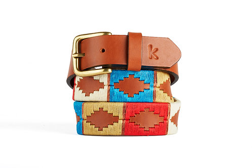 BLUE RED BEIGE, Argentina Polo Belt, Cognac leather, Unisex