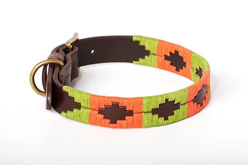 Leather collar ORANGE PISTACHIO
