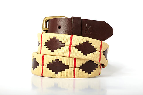 Leather polo belt BEIGE