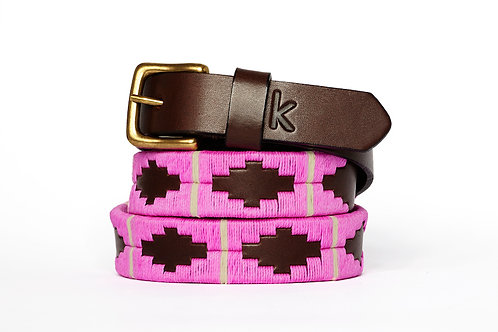 Leather polo belt PINK