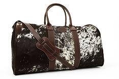 Sac de voyage en cuir peau de vache noir, bagage valise Argentine Kamyno