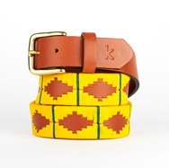 Polo gaucho leather belt from Argentina Yellow Green