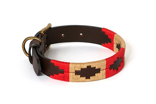 RED BEIGE, Polo dog collar from Argentina, Brown Leather