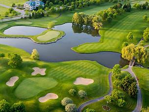 Exemple de prise de vue aérienne d'un parcours de golf green trou