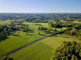 Photo par drone de la campagne en Limousin, près de Limoges en Haute Vienne 87