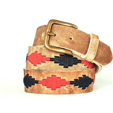 Polo gaucho leather belt from Argentina Red Navy Blue