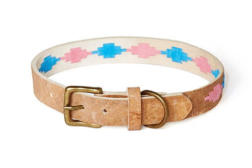PINK BLUE,  Polo dog collar from Argentina, Raw Leather