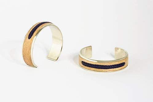 Bracelet alpaca et cuir cru BLEU