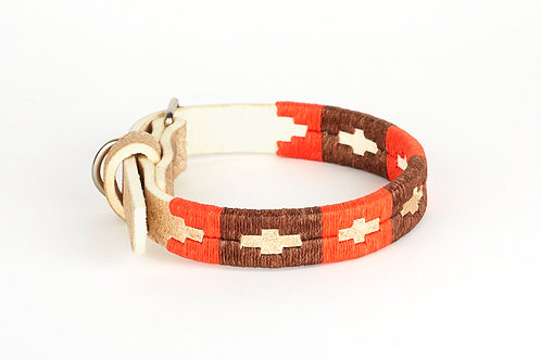 BROWN ORANGE, Polo dog collar from Argentina, Cognac leather
