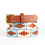Polo gaucho leather belt from Argentina Pink Grey Blue