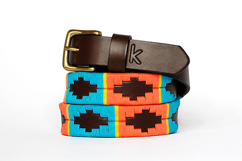 ORANGE BLUE YELLOW, Argentina Polo Belt, Brown leather, Women
