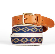 Polo gaucho leather belt from Argentina Blue White