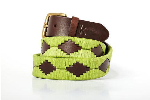 Leather polo belt PISTACHIO