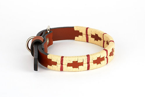 BEIGE BORDEAUX, Polo dog collar, from Argentina Cognac leather