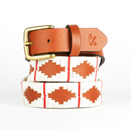 Polo gaucho leather belt from Argentina White Red
