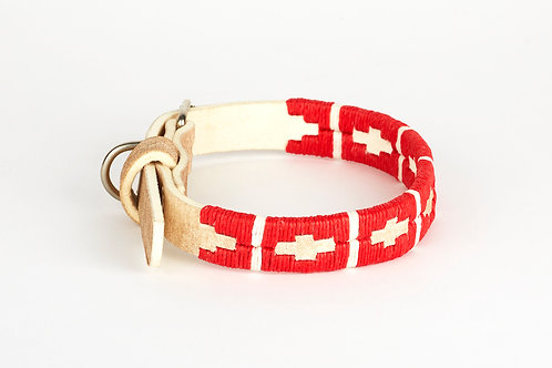 RED WHITE, Polo dog collar from Argentina, Raw leather