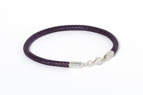 Bracelet cuir tressé & argent POURPRE