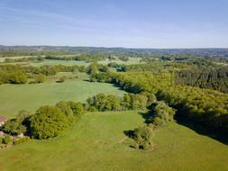 Photo par drone d'un territoire, domaine de chasse à Tours, Indre et Loire 37.
