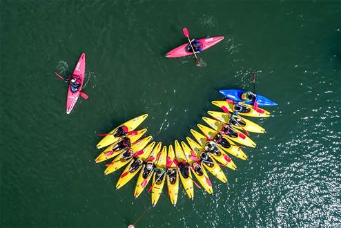 Exemple de photo par drone d'activité sportive en canöé et paddle à Poitiers, Vienne 86